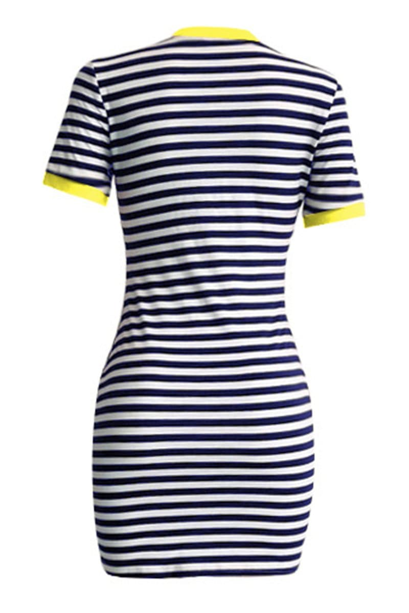 Casual Striped Printing Short Sleeved Dress - VogueRegion