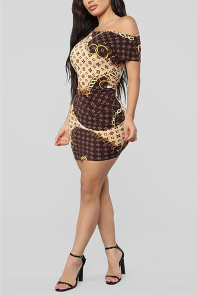 Gold Chain Print Casual Dress - VogueRegion