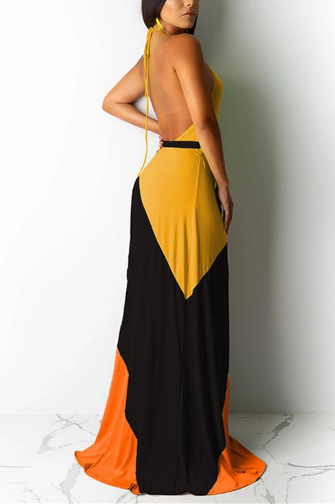 Sexy Fashion Stitching Sleeveless Long Dress