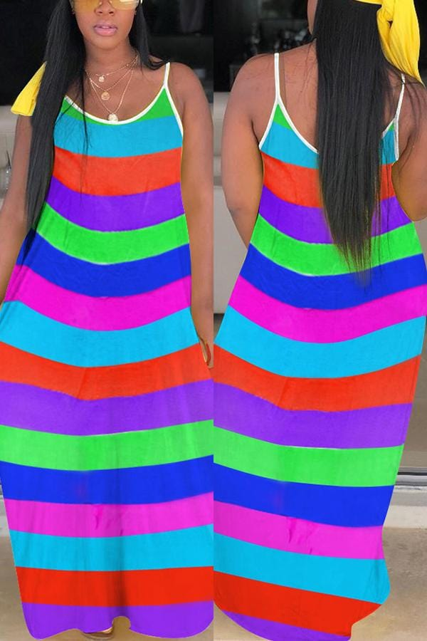 Sexy Rainbow Striped Sleeveless Dress