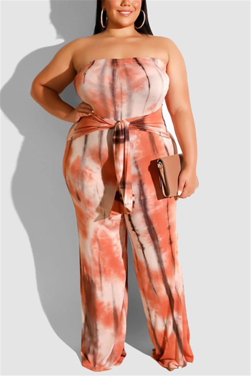 Sexy Tie-Dyed Wrapped Chest Large-Size Jumpsuit