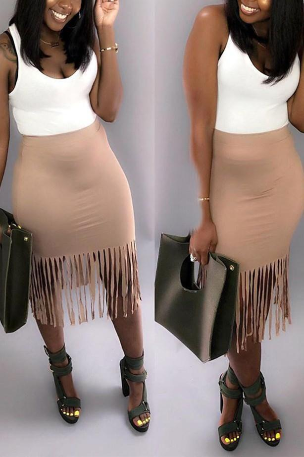 Sexy Slim-Fit Tassel Hip-Package Skirt