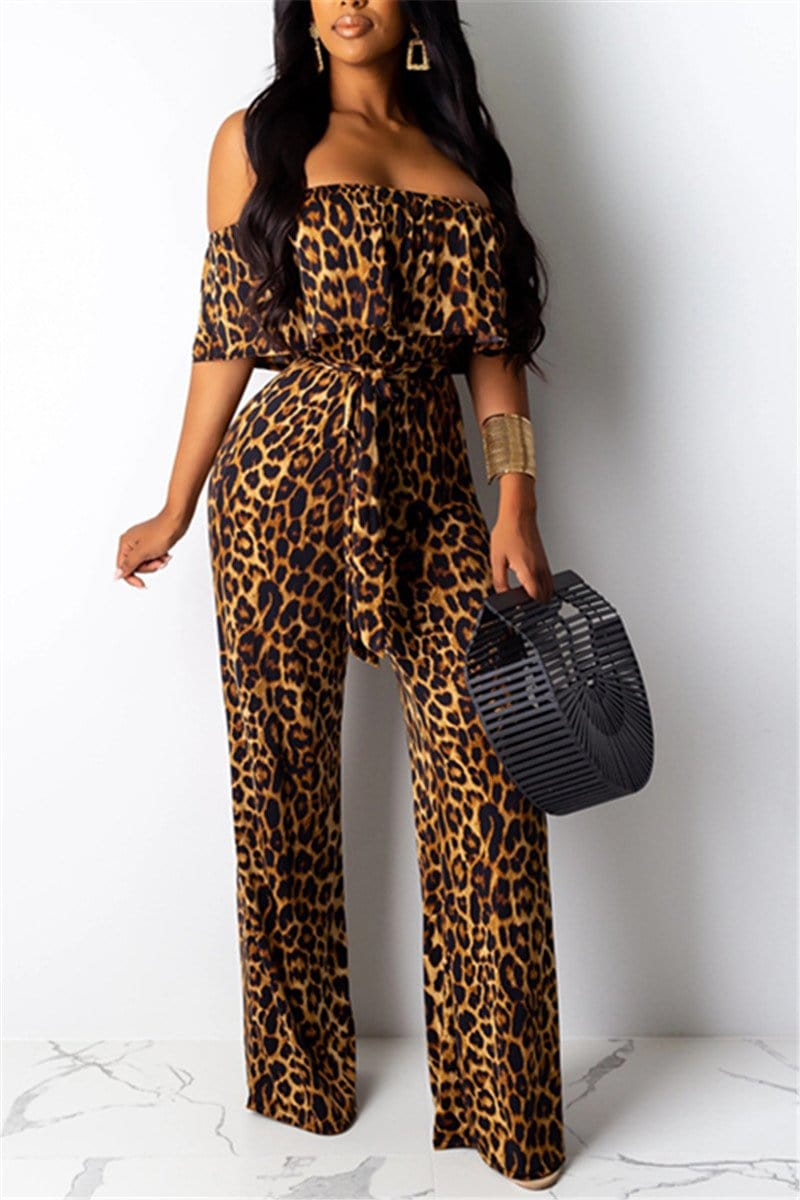 Fashion Leopard Print Wide-Leg Jumpsuit