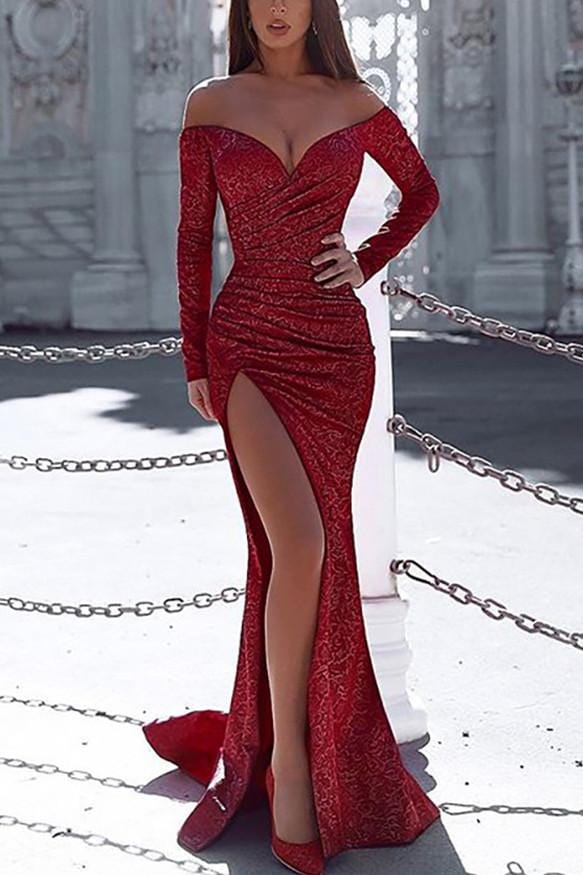 Sexy Fashion Off Shoulder  long Sleeve Dress