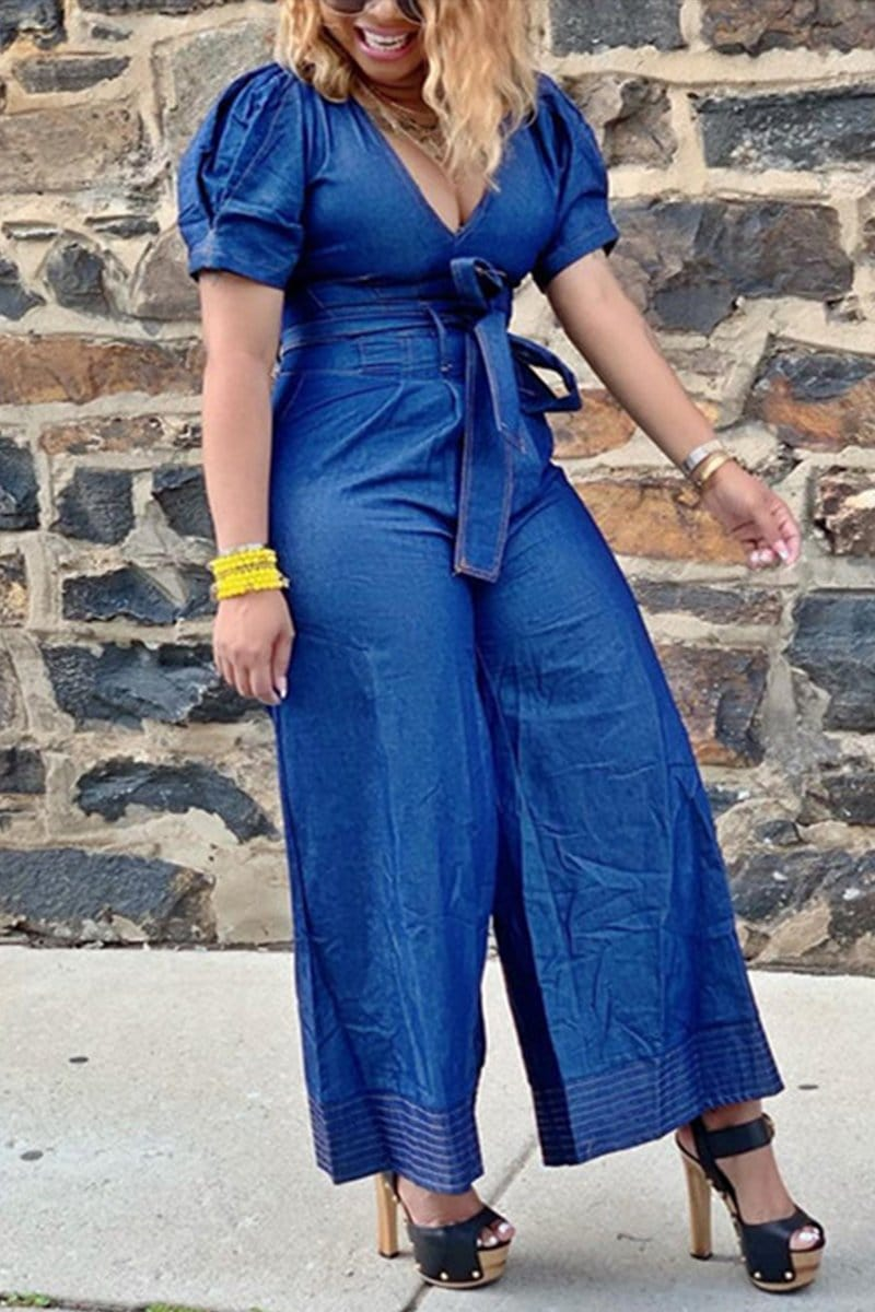 Fashion V Neck Denim Jumpsuit
