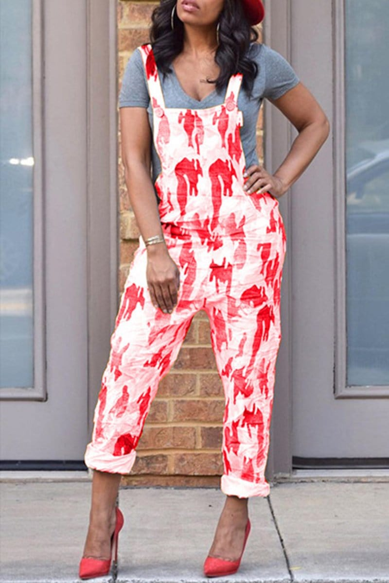 Fashion Casual Printing Strap Jumpsuit - VogueRegion