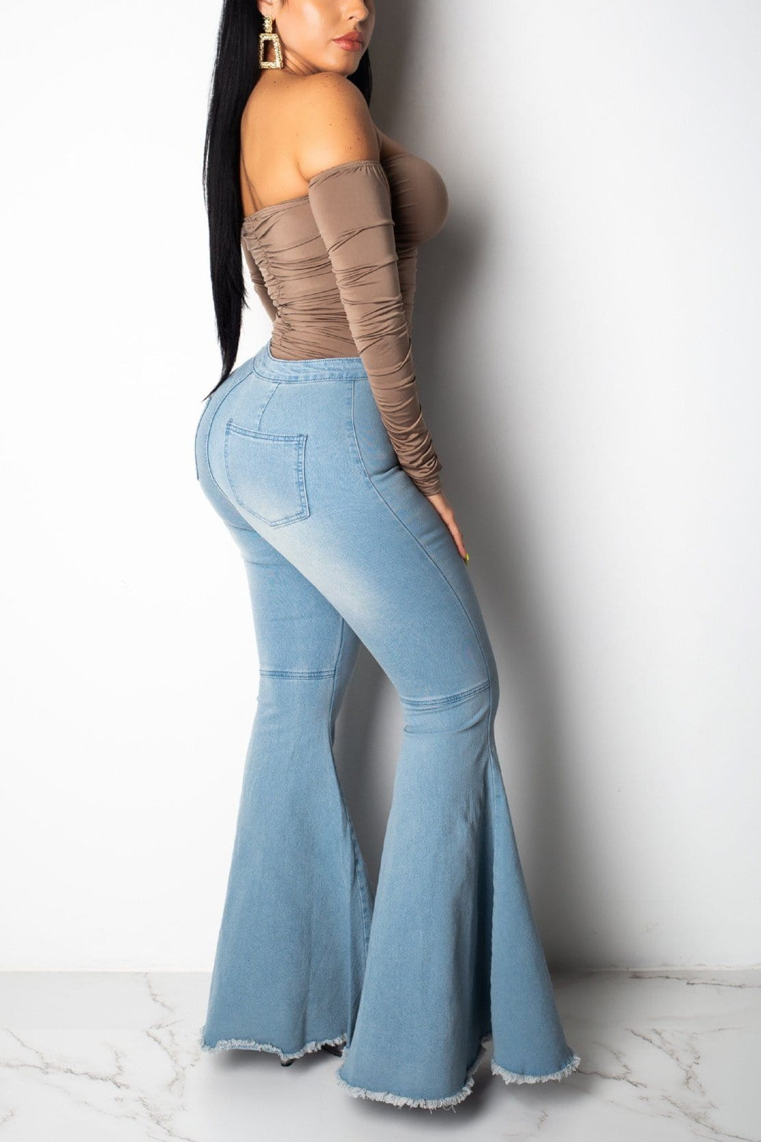 Fashion Wide-Leg High Waist Stretch  Flare Jeans