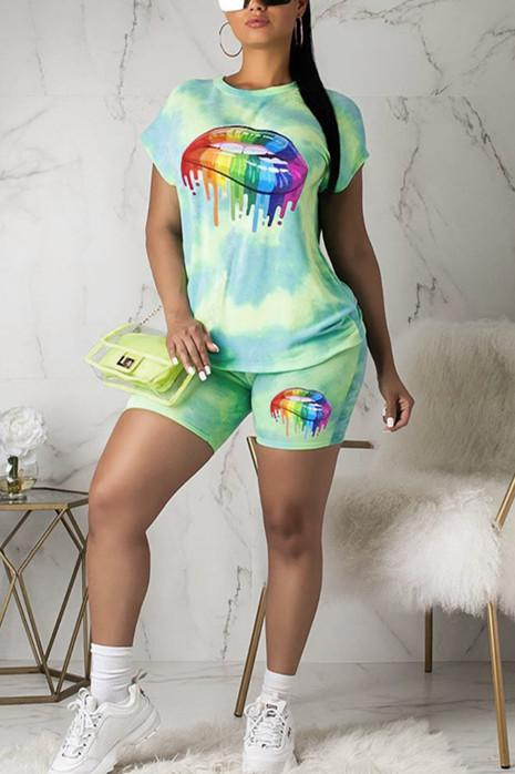 Casual Lips Tie-Dyed Short-Sleeved Sports Set