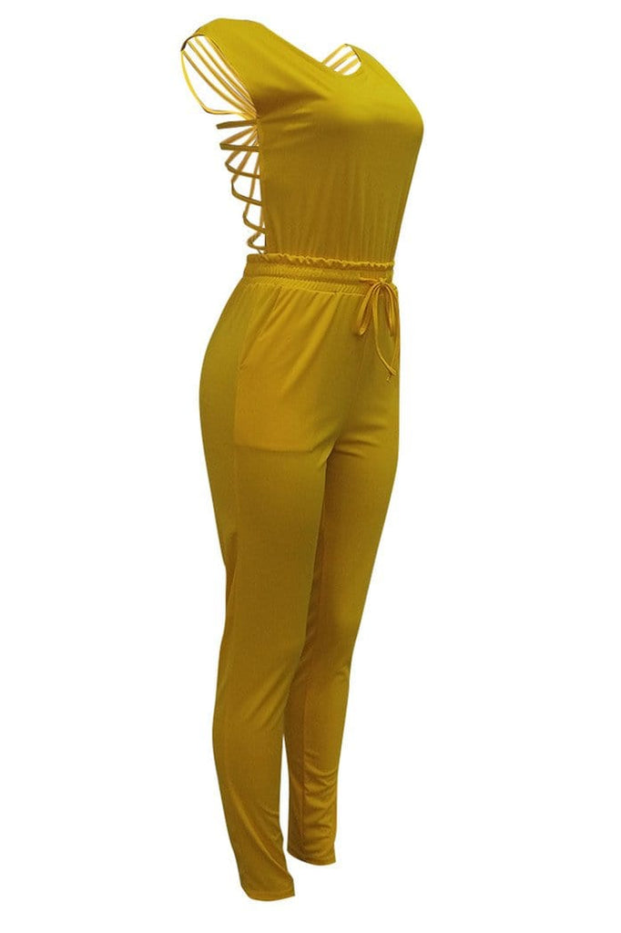 Fashion Casual Open Back Jumpsuit - VogueRegion