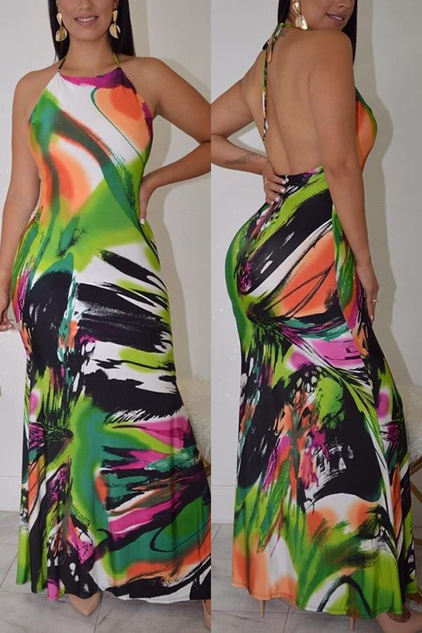 Fashion Sexy Print Halter Halter Dress - VogueRegion