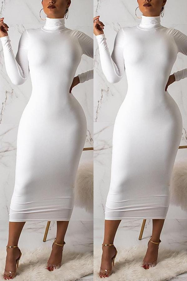 Fashion High Neck Long Sleeve Dress - VogueRegion