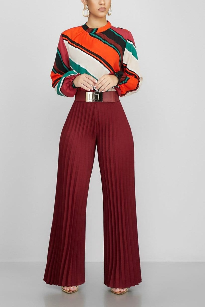 Fashion Casual  Pleated Wide-Leg Pants