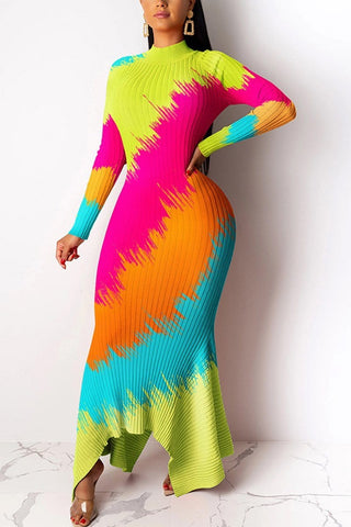 Fashion Casual Temperament Multicolor Dress
