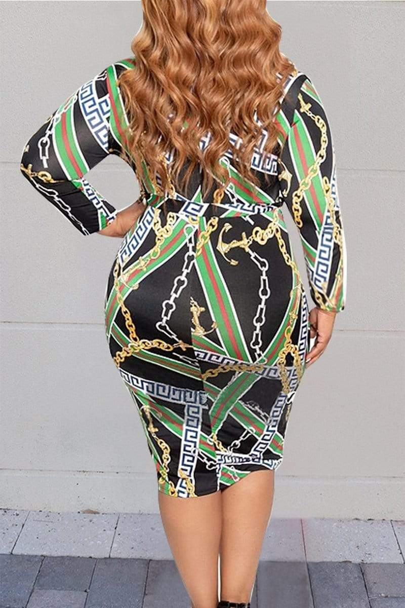 Printed Hip-Package Zipper Large-Size Dress