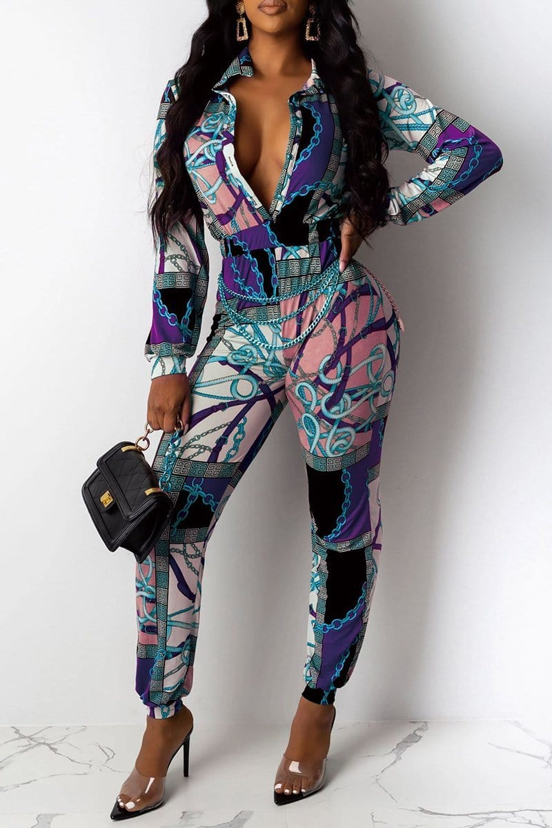 Sexy Fashion Multicolor Digital Print Jumpsuit