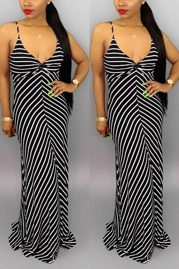 Sexy Sling Striped Printing Long Dress