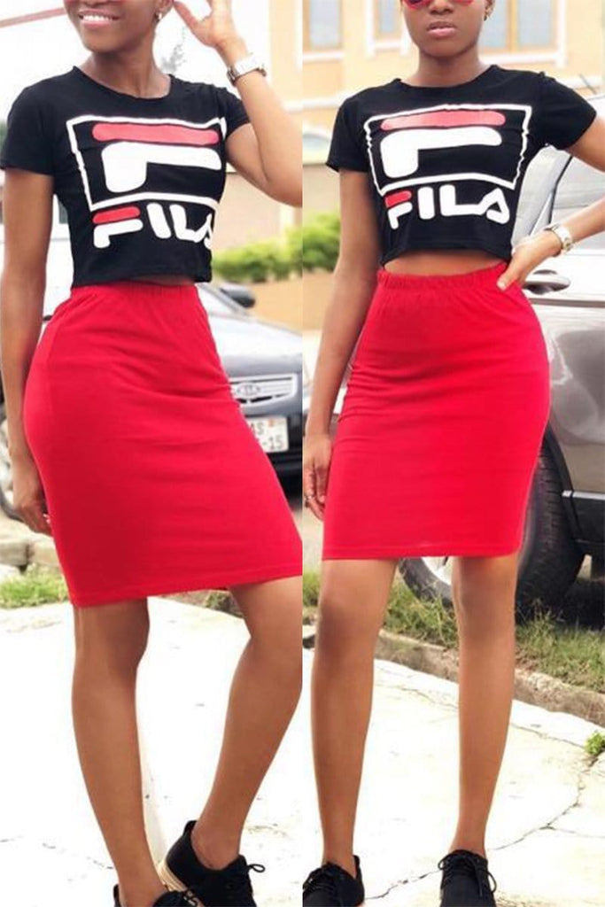 Offset Printing Casual Skirts Set