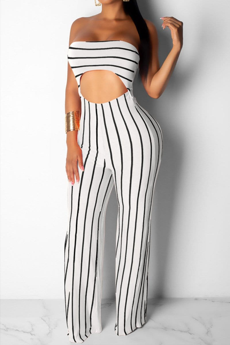 Sexy Nightclub Striped Navel Jumpsuit