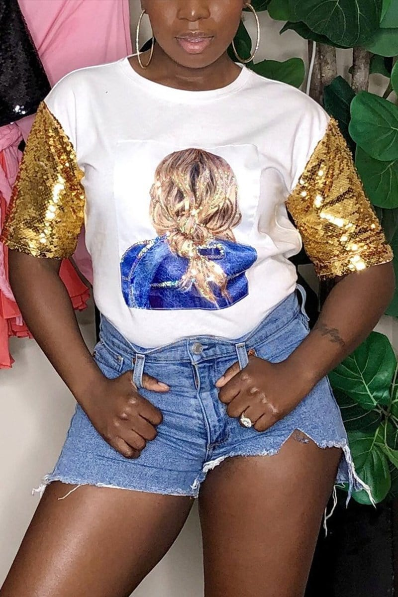 Fashion Head Portrait Print Sequins Top