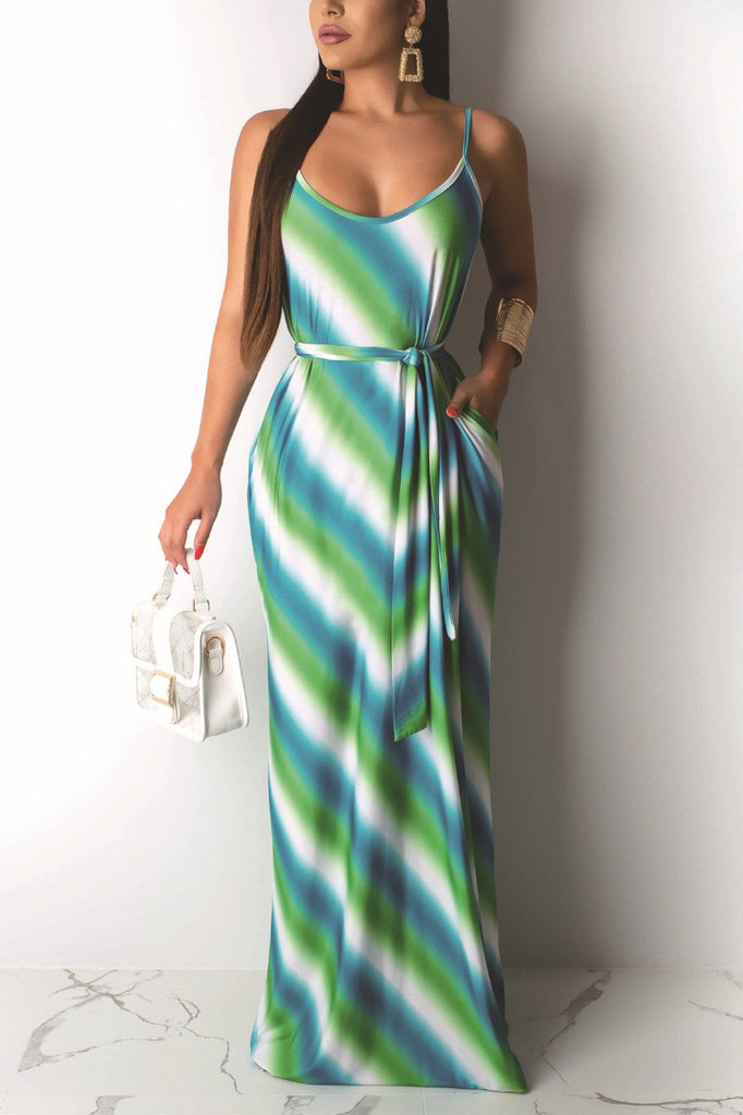Casual Striped Print Strap Dress (With Belt) - VogueRegion