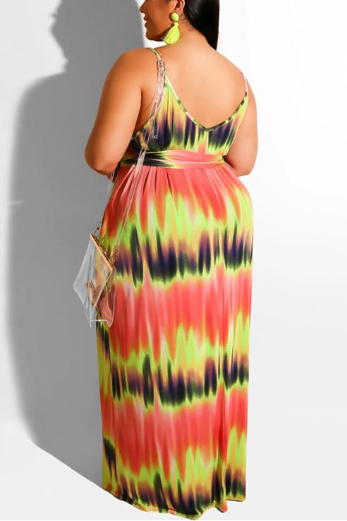 Sexy Tie-Dyed Print Sling Dress (With Belt)