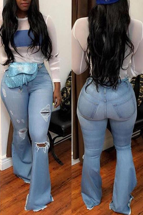 Casual Trumpet-shaped  Holes  Wide leg Jeans