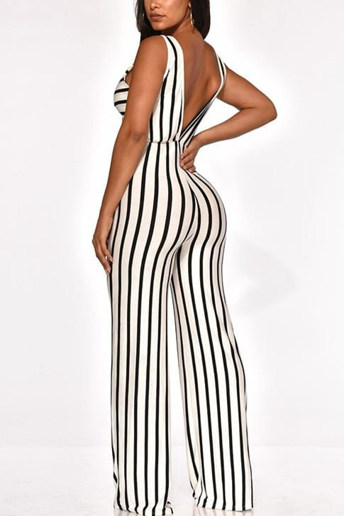 Fashion Sexy Striped Sleeveless Jumpsuit