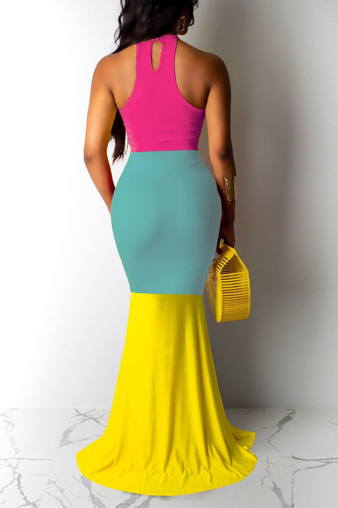 Sexy Slim Halter Splicing Dress