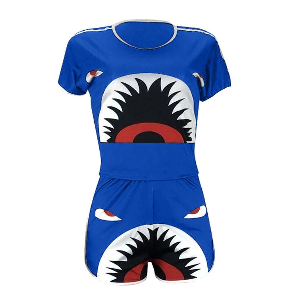 Fashion Shark Print Sport Two-Piece Set