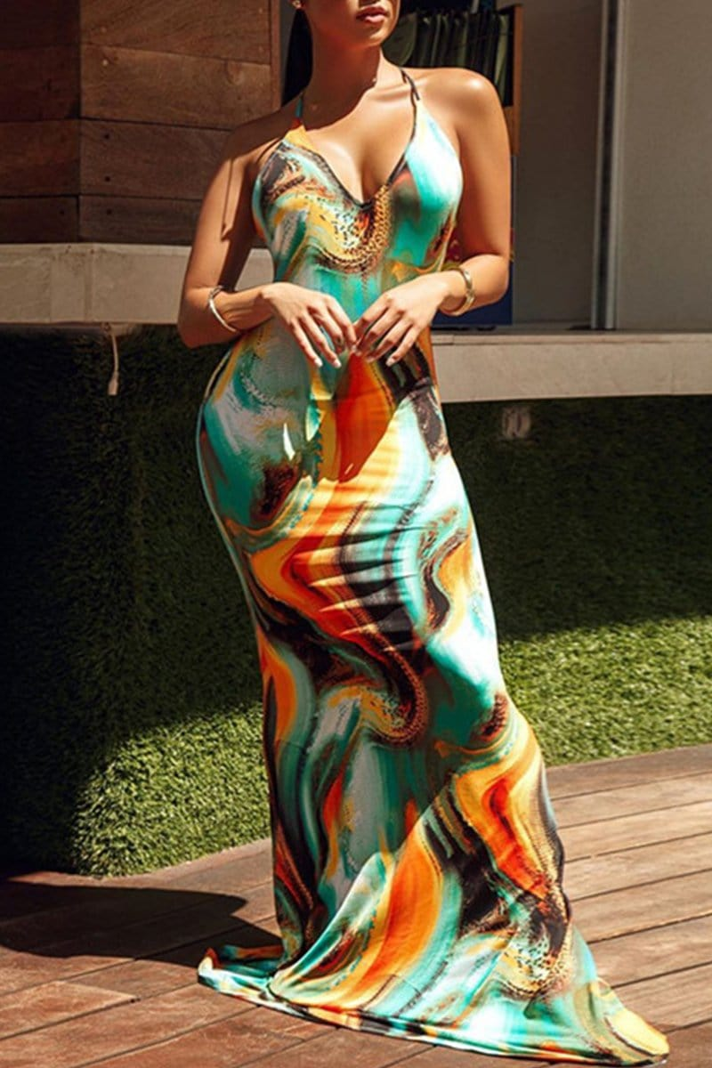 Sexy Slim Printing Sling Long Dress