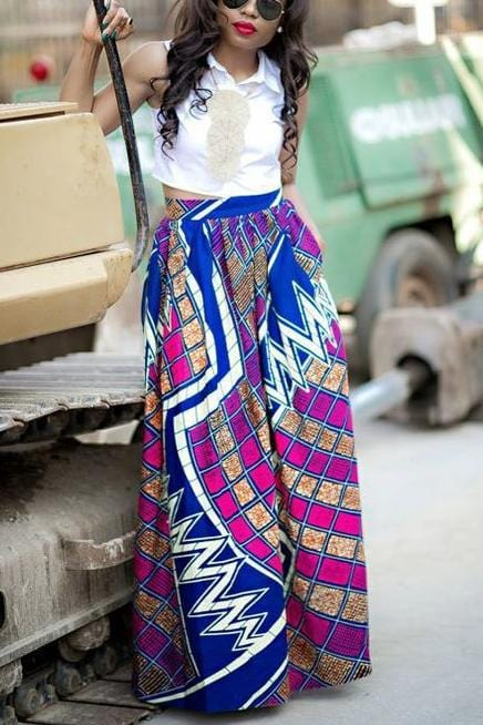 Printed Loose Pleated Skirt