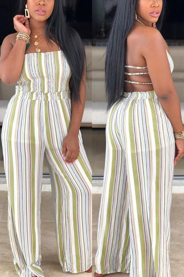 Sexy Pleated Print Strap Straight Jumpsuit