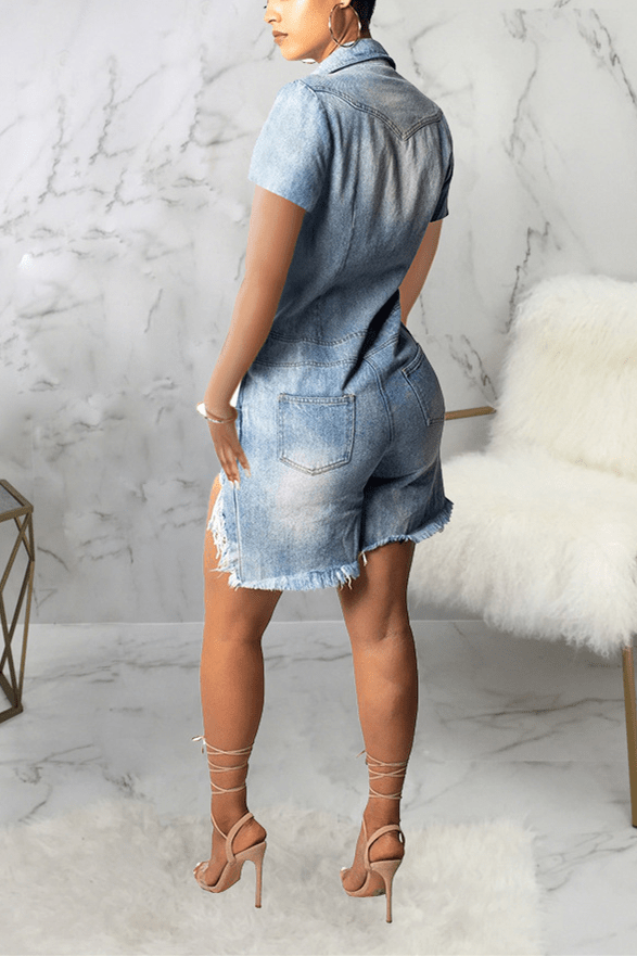 Fashion Sexy Slim-Fit Denim Jumpsuit