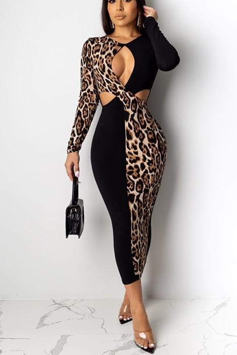 Fashion Openwork Color Mosaic Leopard Print Dress