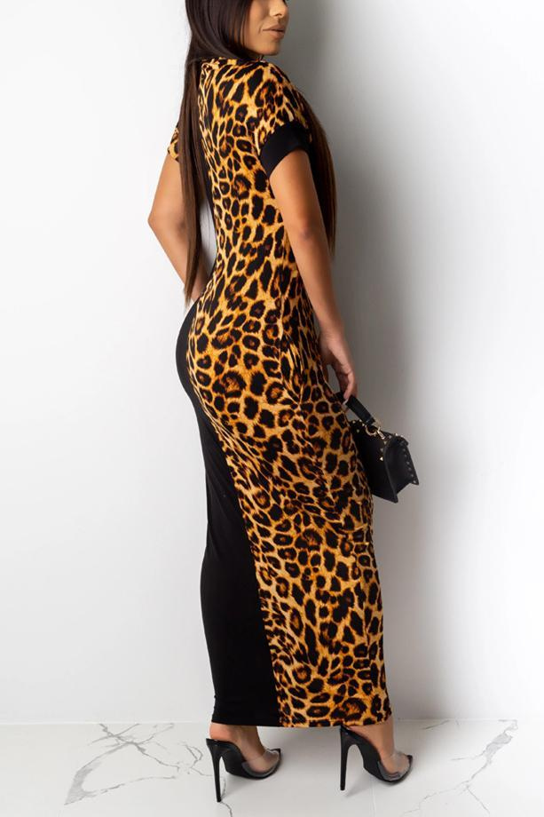 Leopard Print Bat Sleeve Stitching Dress