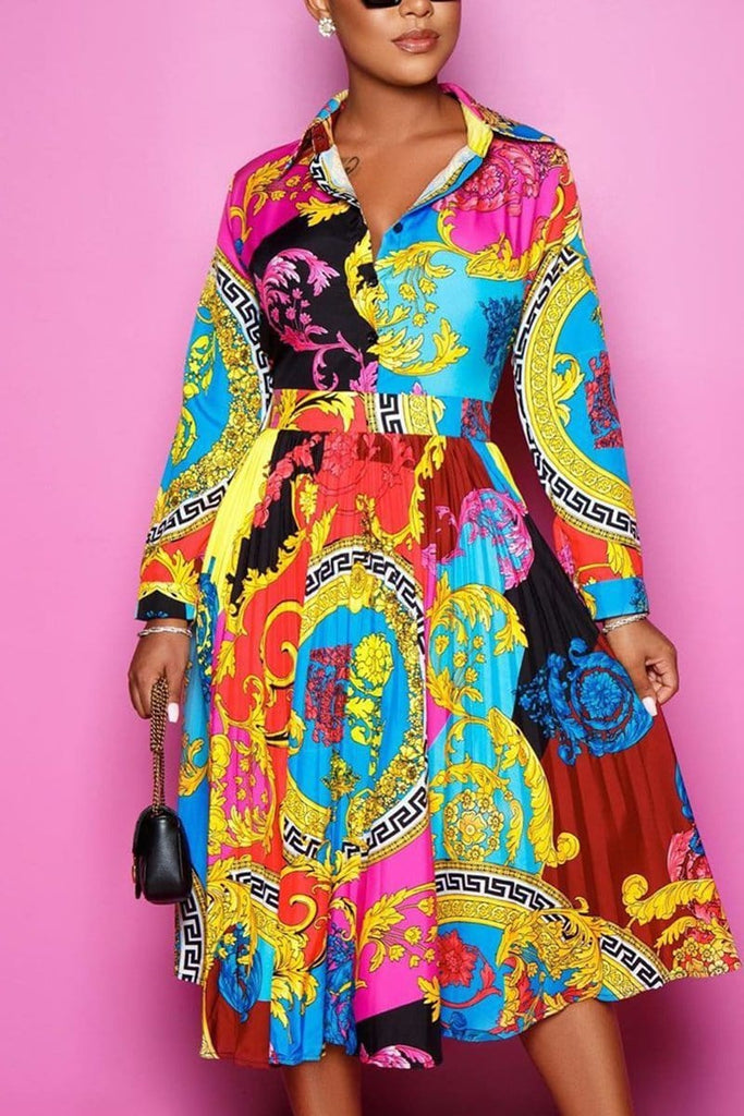Fashion Elegant Multicolor Print Shirt Dress