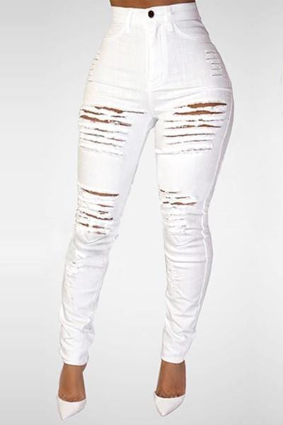 VogueRegion High Wasit White Destroyed Skinny Jeans - VogueRegion