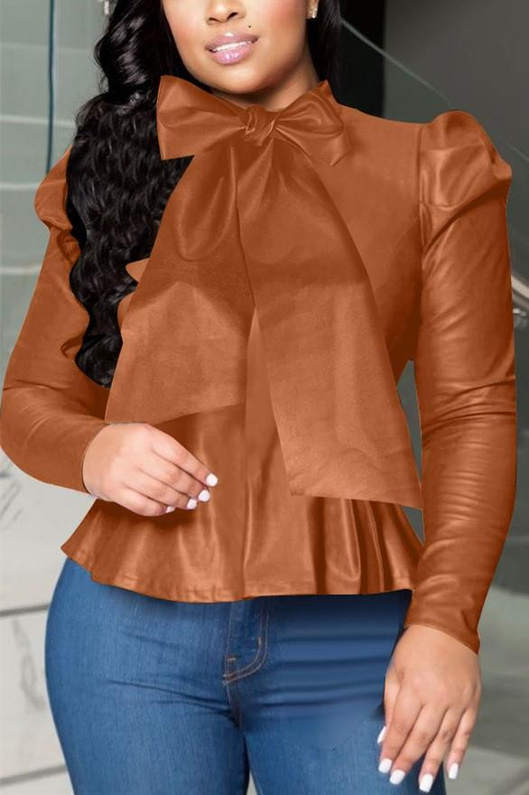 Fashion High Collar Leather Top