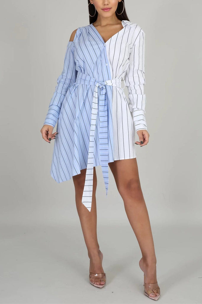 Fashion Striped Printing Irregular Dress