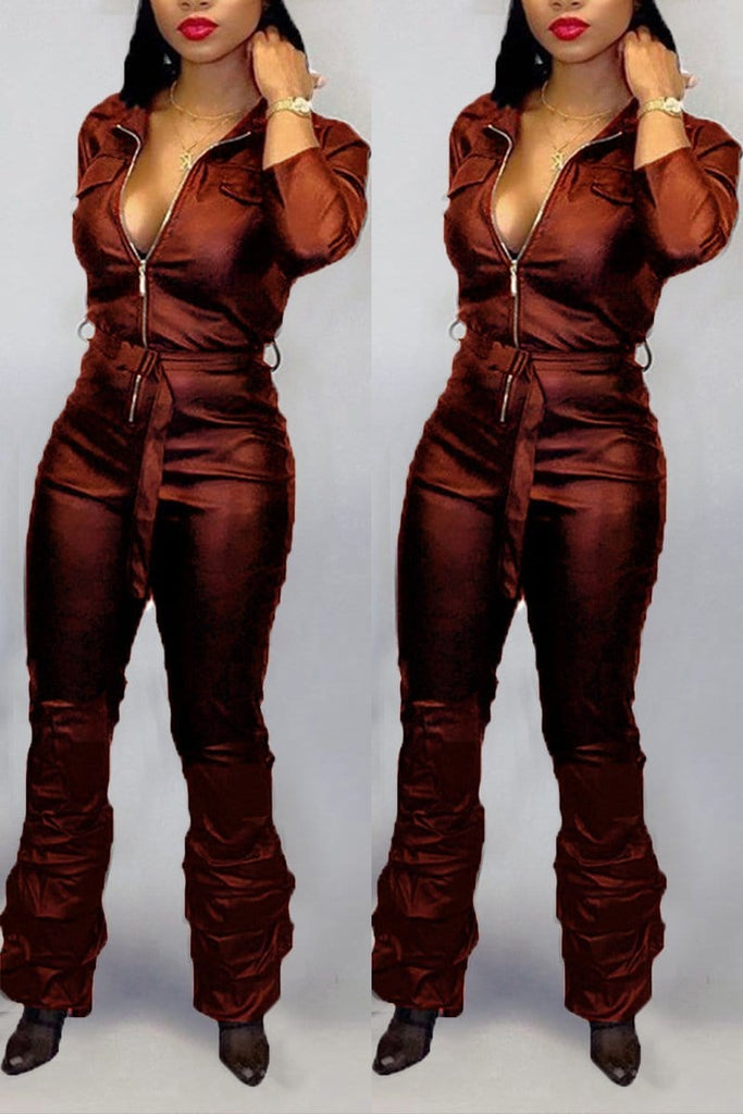 Sexy Fashion Zip Trumpet Jumpsuit