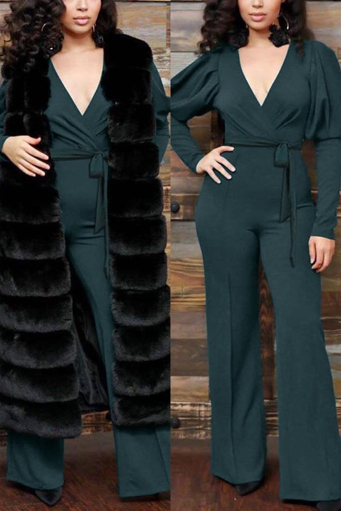 Fashion V-neck Wide Leg Jumpsuit