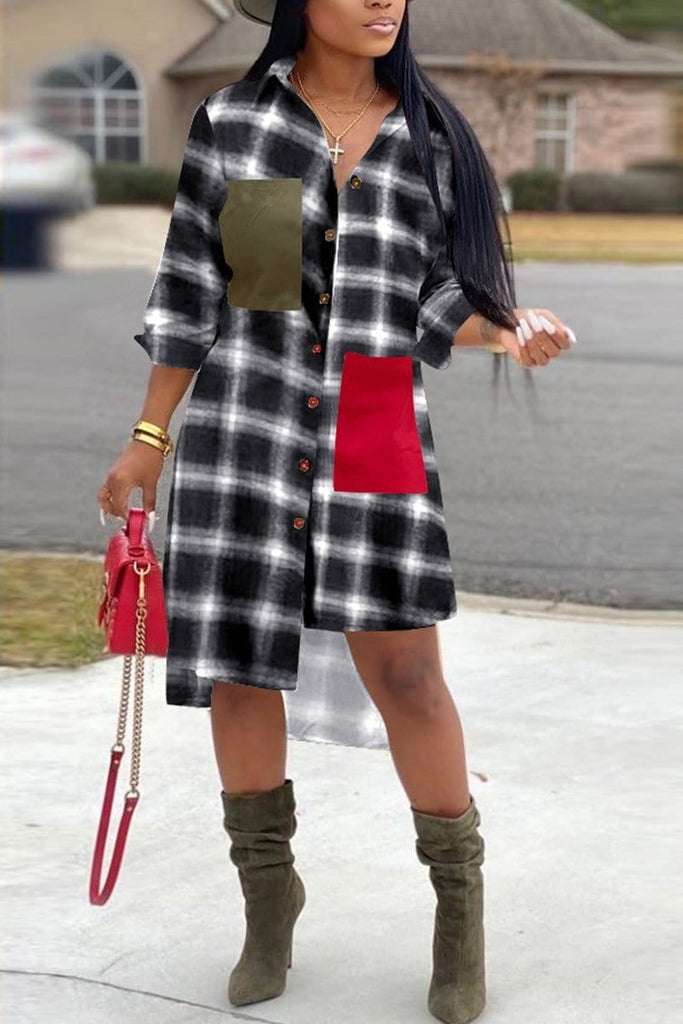Fashion Plaid Printing Irregular Shirt Dress