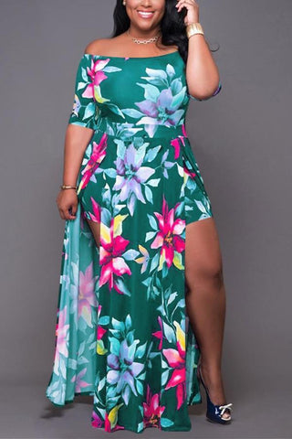 Sexy Fashion Printing Plus Size Dress
