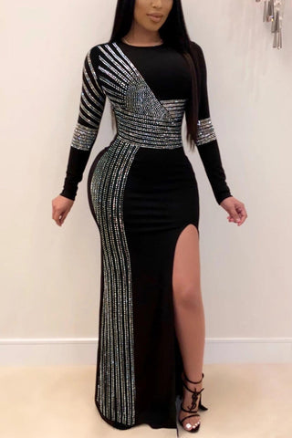 Sexy Hot Diamond Long Sleeve Dress