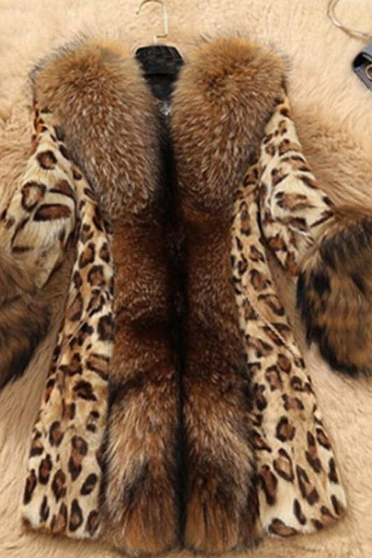 Fashion Patchwork Print Leopard Coat