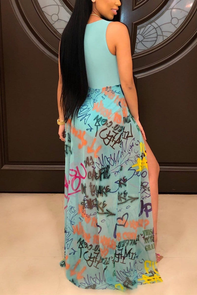 Sexy Graffiti Print Sleeveless Dress