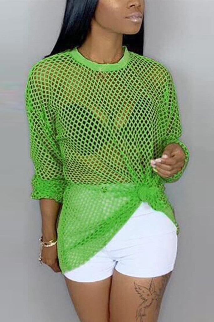 Fashion Casual Long Sleeve Mesh Top
