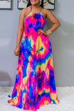 Sexy Printing Multicolor Sling Dress