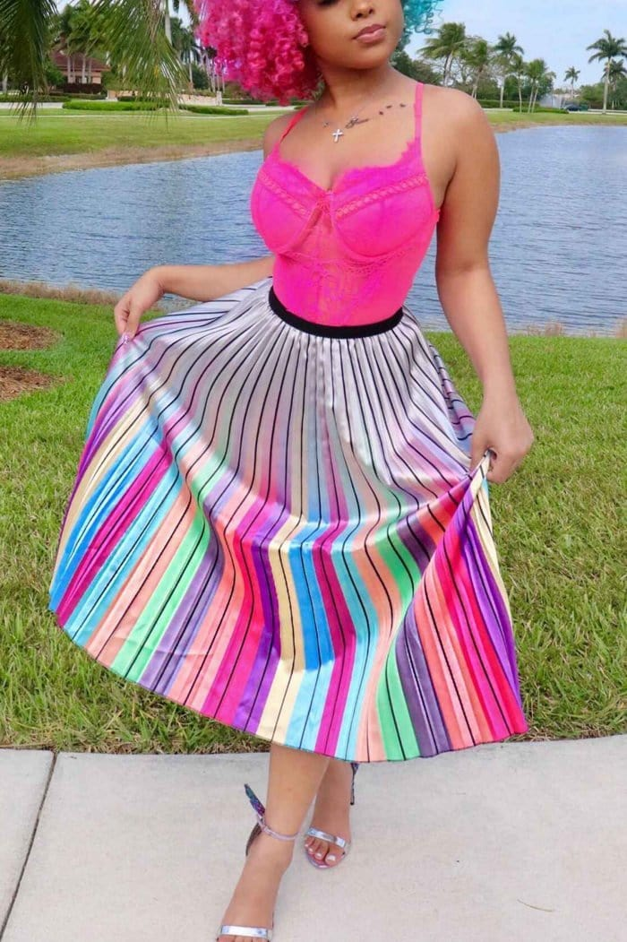Fashion Print Striped Pleated Multicolor Skirt