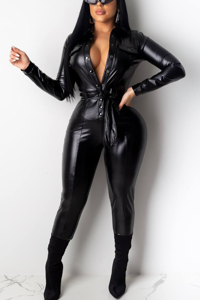 Fashion PU Leather Jumpsuit (With Belt)